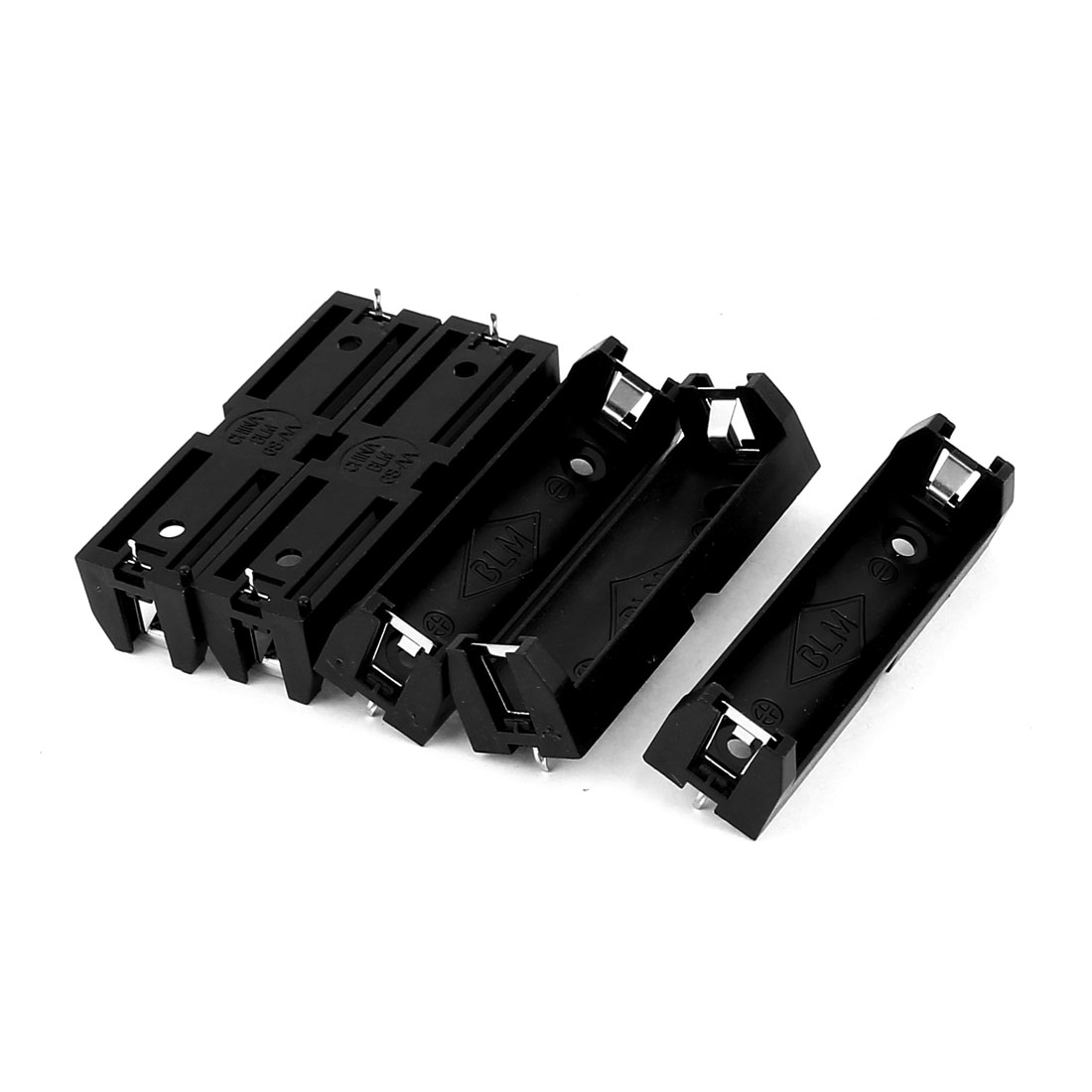 5Pcs Plastic 2 Terminals 1 x 1.5V AA Battery Holder Box Case Black