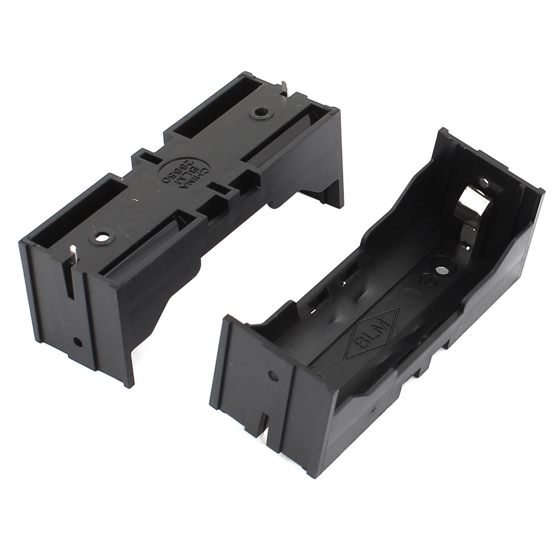 2Pcs Plastic Single 26650 Battery Holder Case Storage Box Black