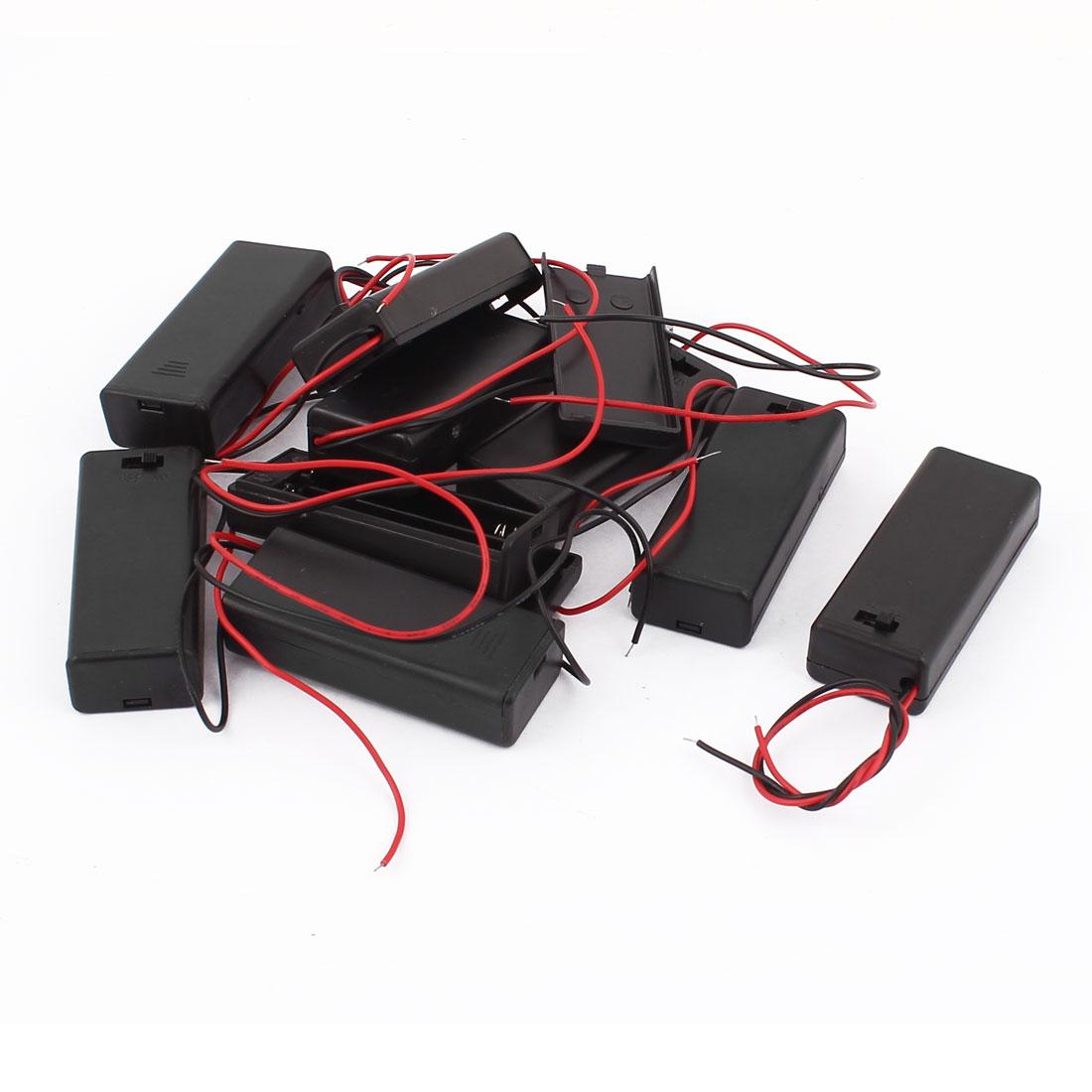 9Pcs 2 x 1.5V AAA Battery Case Plastic Box Holder w Cover