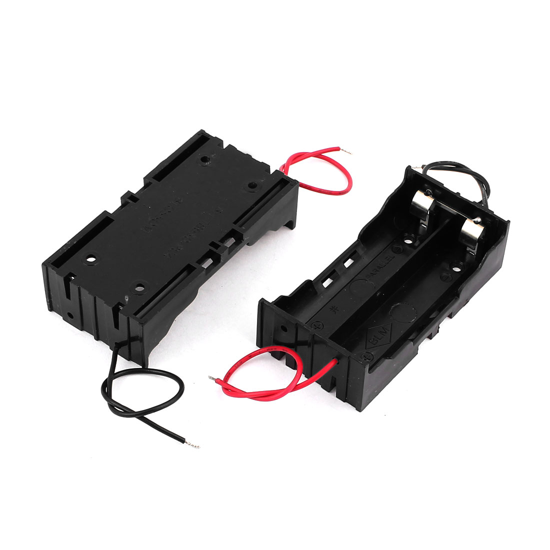 2Pcs Plastic 2 x 18650 Li-ion Battery Storage Holder Case Box Black