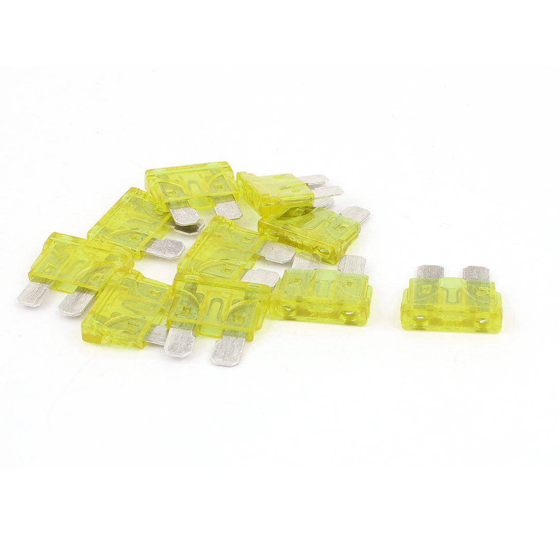 10pcs Yellow 20A Plastic Casing Blade Fuse for Auto Car Truck Motorcycle SUV