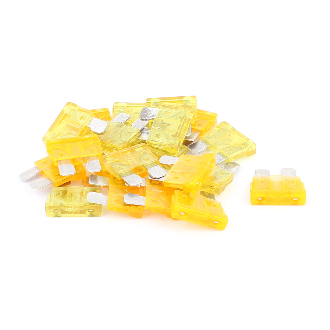 20pcs Yellow Orange 20A 5A Plastic Case Mini Blade Fuse for Auto Car Caravan Motorcycle SUV