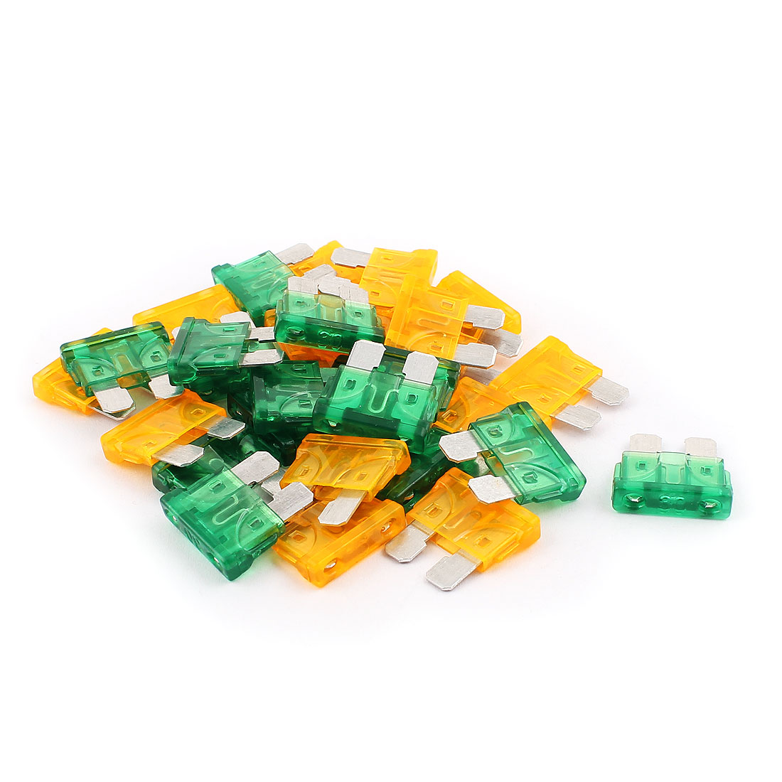 30pcs Orange Green 30A 5A Plastic Casing Mini Blade Fuse for Car Truck Vehicle Motorcycle SUV