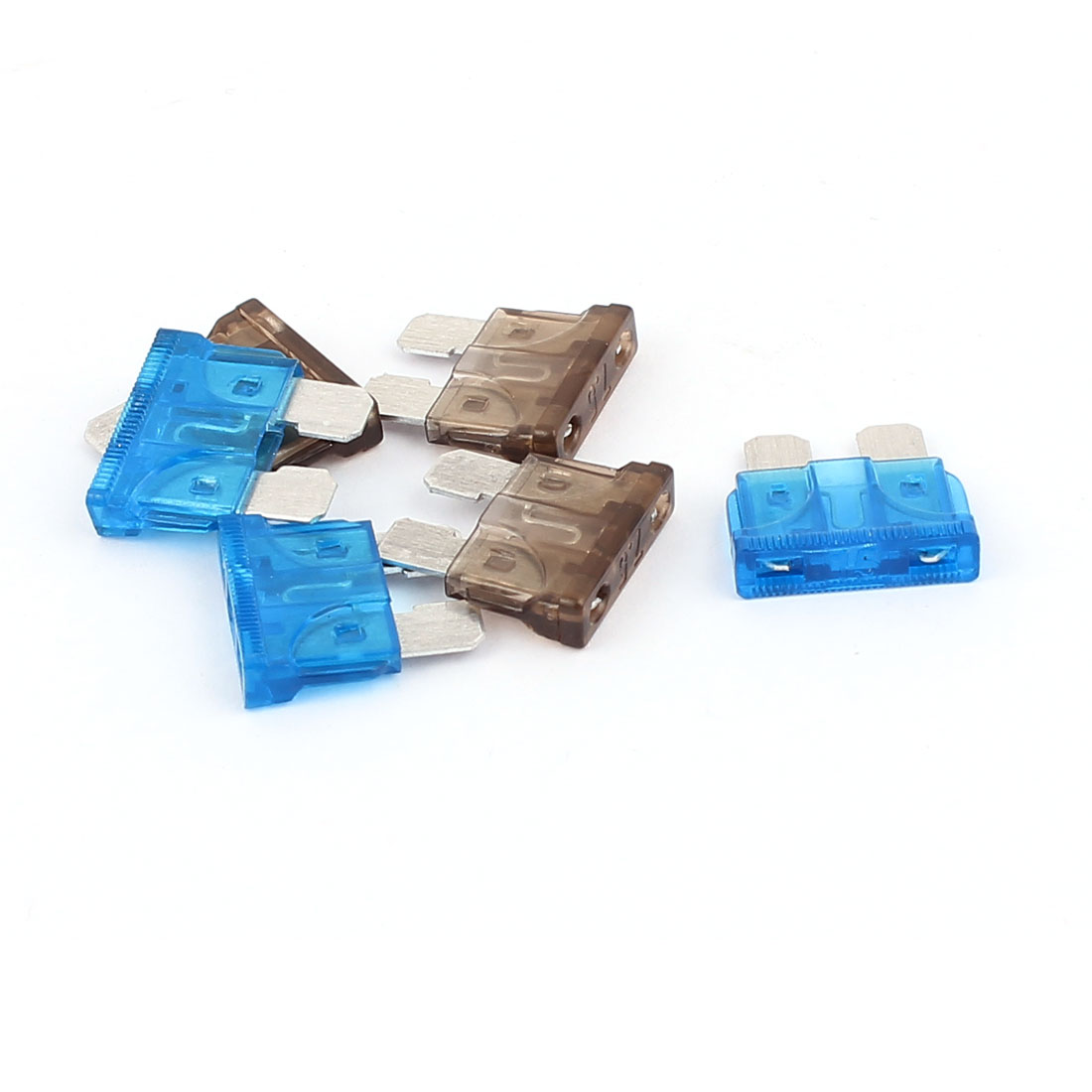 6pcs Blue Gray 15A 7.5A Plastic Casing ATC ATO Mini Blade Fuses for Car Caravan Truck Auto