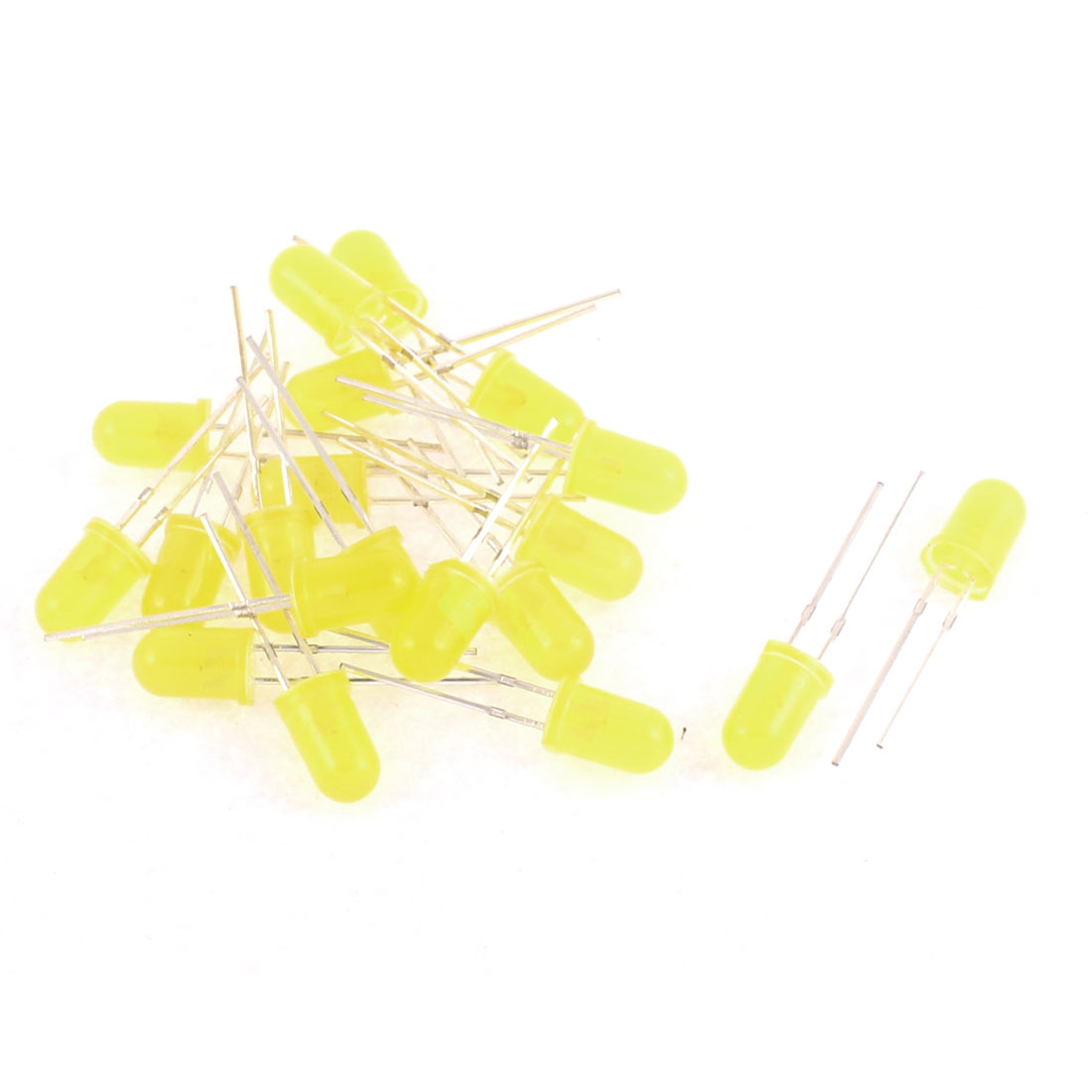 20pcs 5mm Round Yellow Color Light Emitting Diode LEDs Bulds