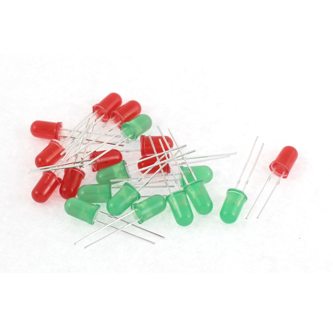 20pcs 5mm Red Green Light-emitting Diode Lamp DIY LEDs