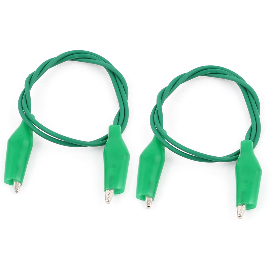 2pcs Green Insulated Boot Dual Ended Test Leads Alligator Clip Jumper Wire Cable 47cm