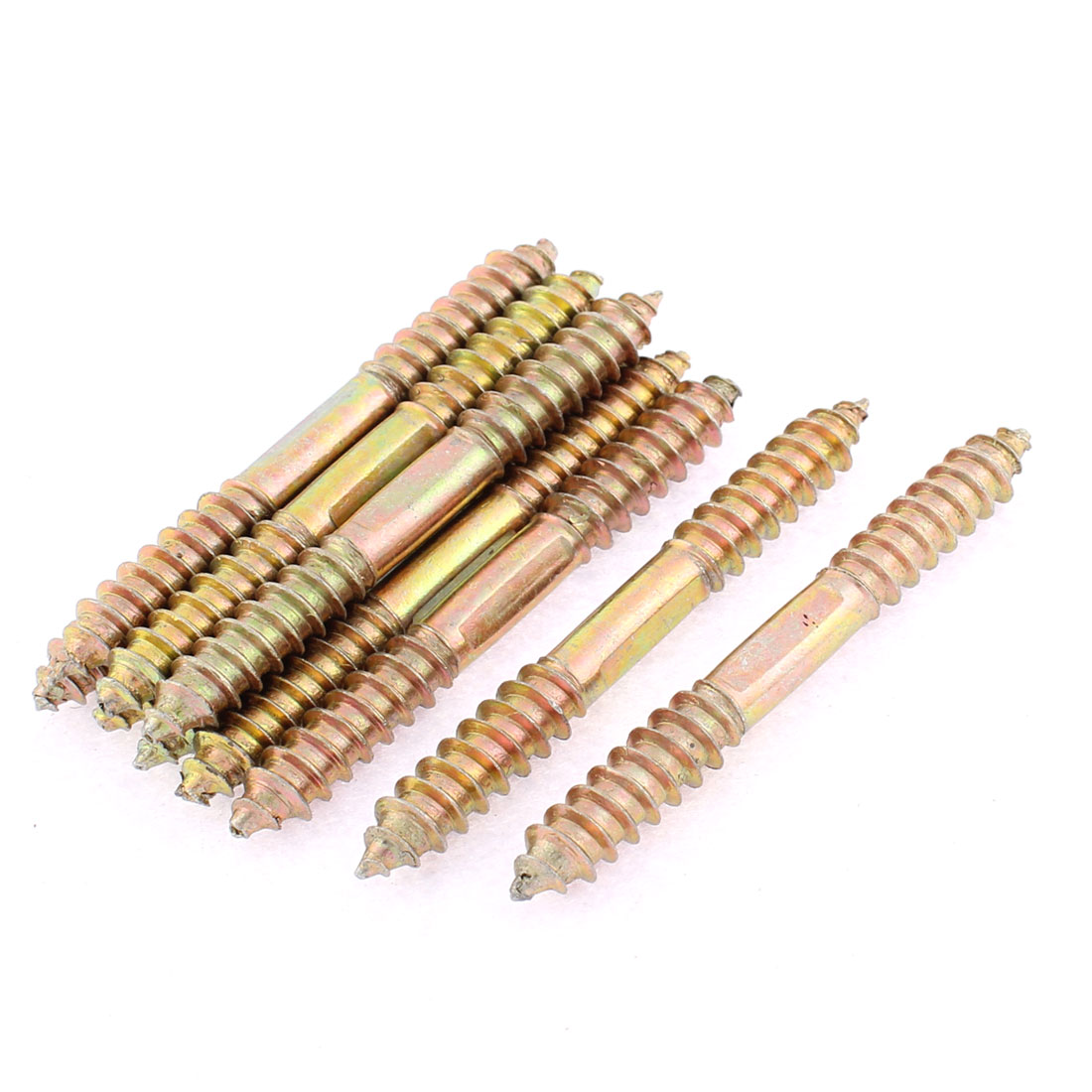10Pcs M8 x 73mm Double Ended Metal Full Thread Self Tapping Threaded Rods Screw Bars Studs Fasteners