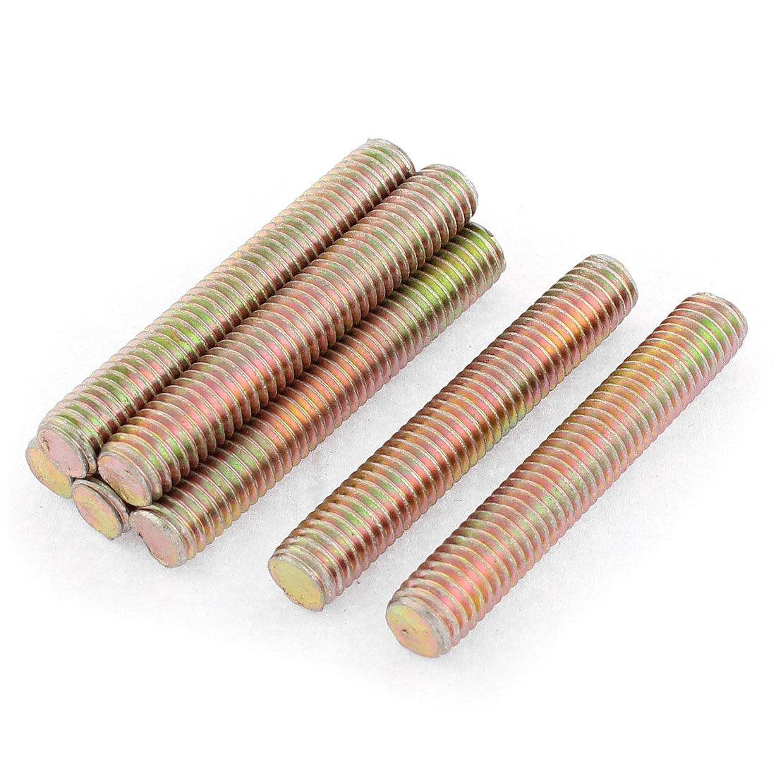 7 Pcs 1.25mm Pitch M8 x 50mm Male Full Thread Bronze Tone Metal Threaded Rod Bar Screw