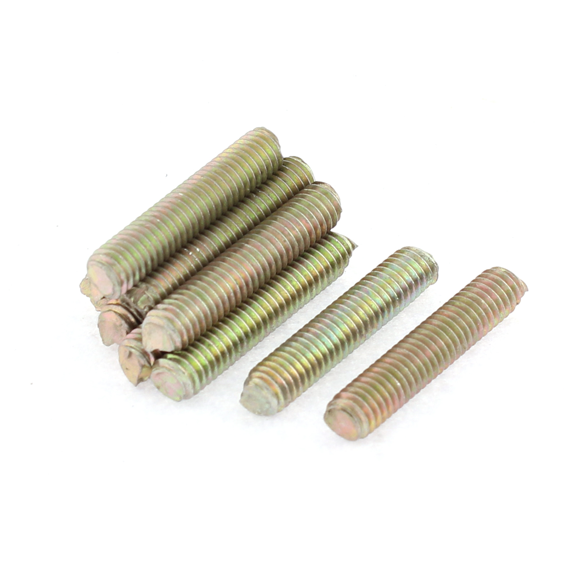 10Pcs 1mm Pitch M6 x 30mm Male Full Thread Dual Head Threaded Rod Bar Screw Bolt Fastener Bronze Tone
