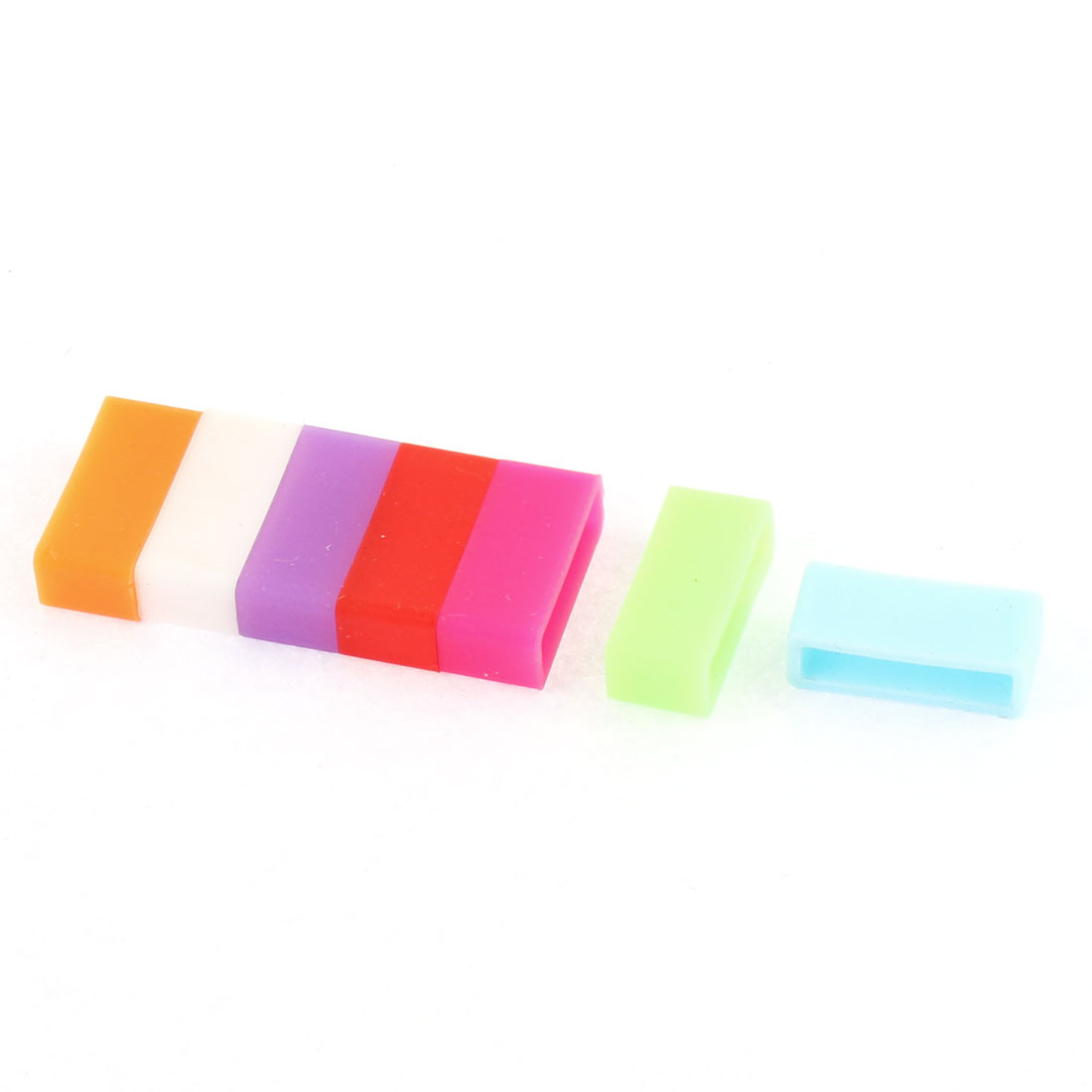 7 Pcs Seven-color Silicone Retainer Keeper Watch Buckle Ring Band Loop for 18mm Width Strap