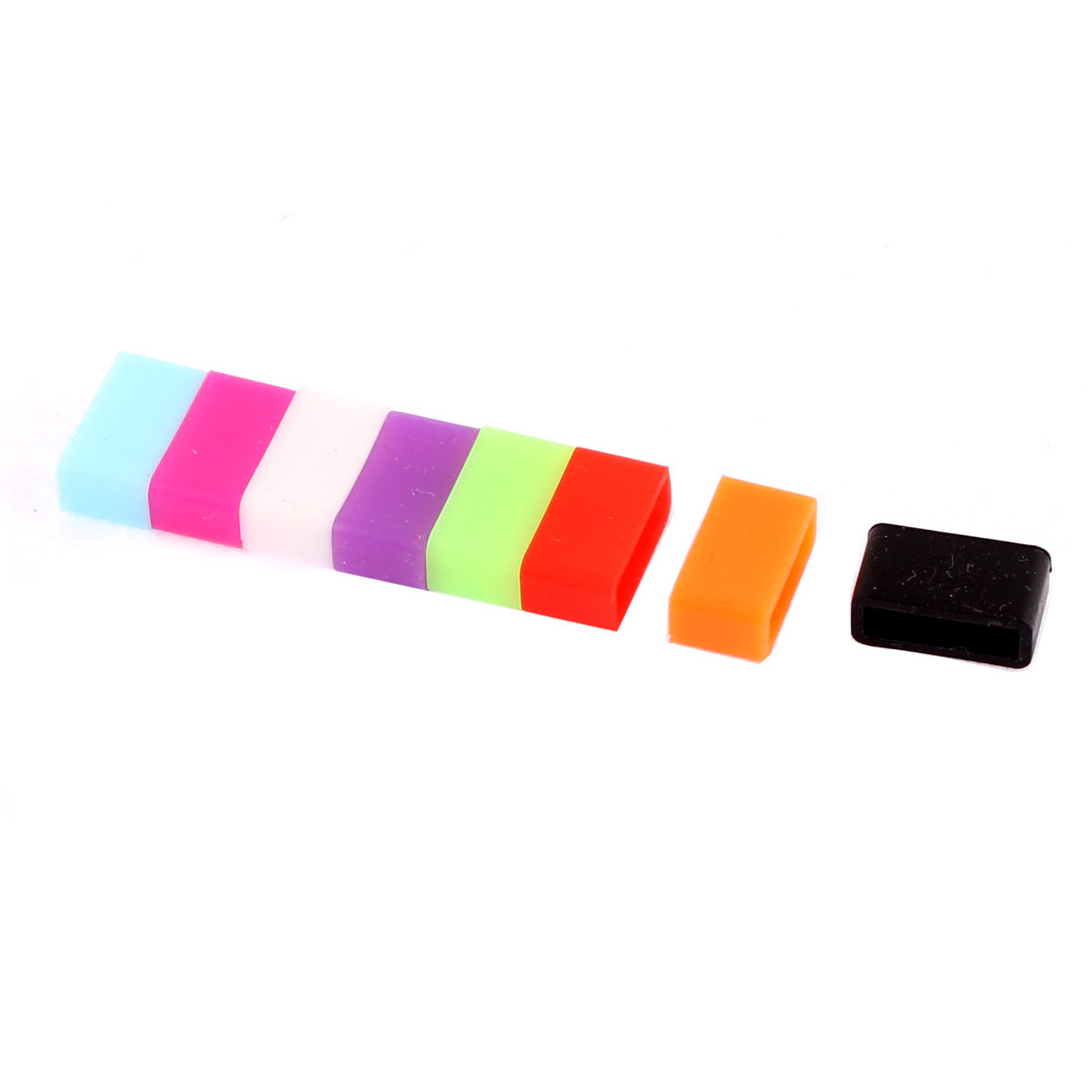 8Pcs Assorted Color Silicone Watch Retainer Keeper Buckle Ring Loop for 13mm Width Strap