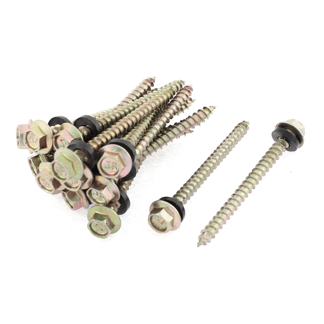 15 Pcs M5 x 60mm Male Thread 65mm Length Hex Washer Head Self Tapping Drilling Screw Fastener