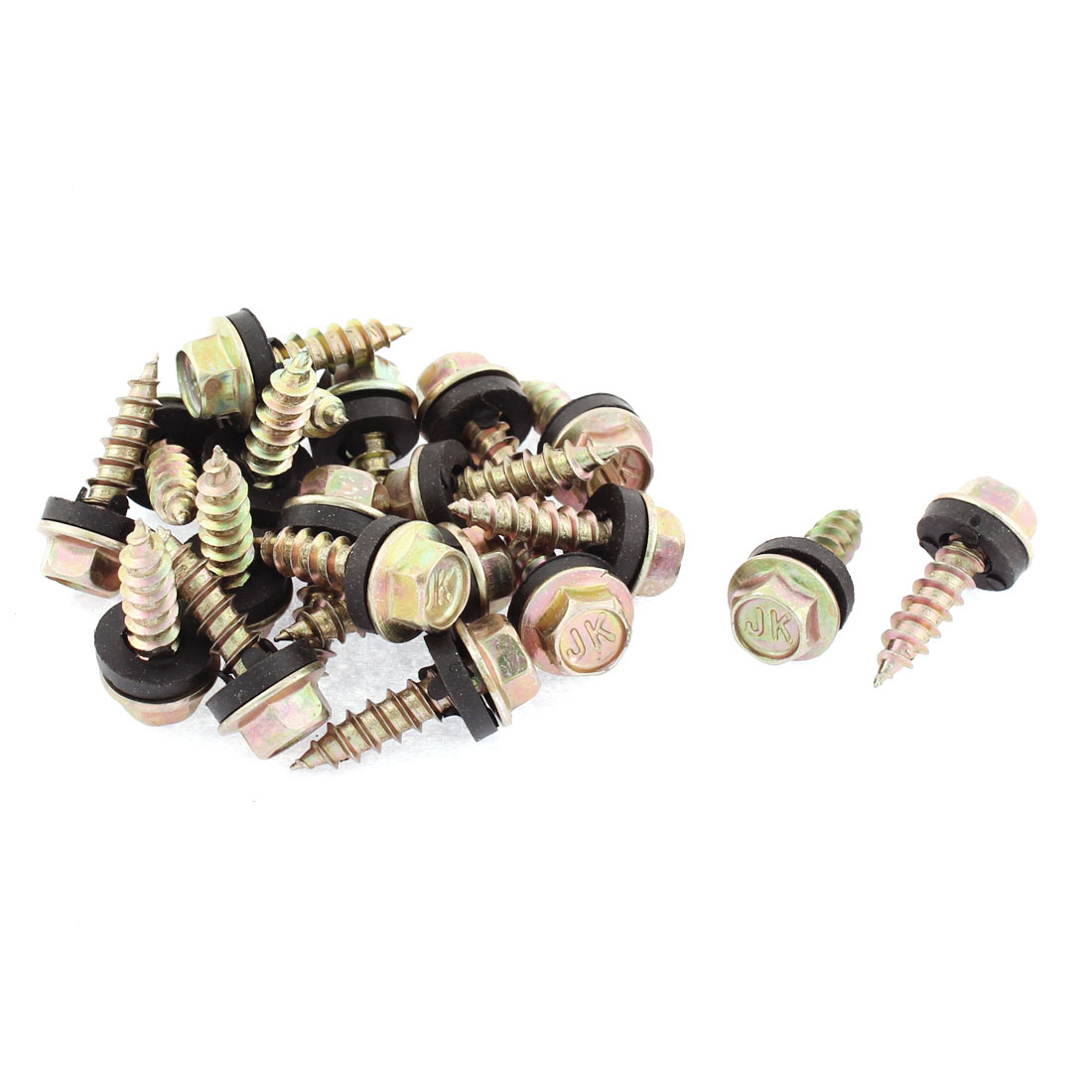 20 Pcs Rubber Washer M5 x 20mm Male Thread Hex Head Self Tapping Screw Fastener 24mm Long