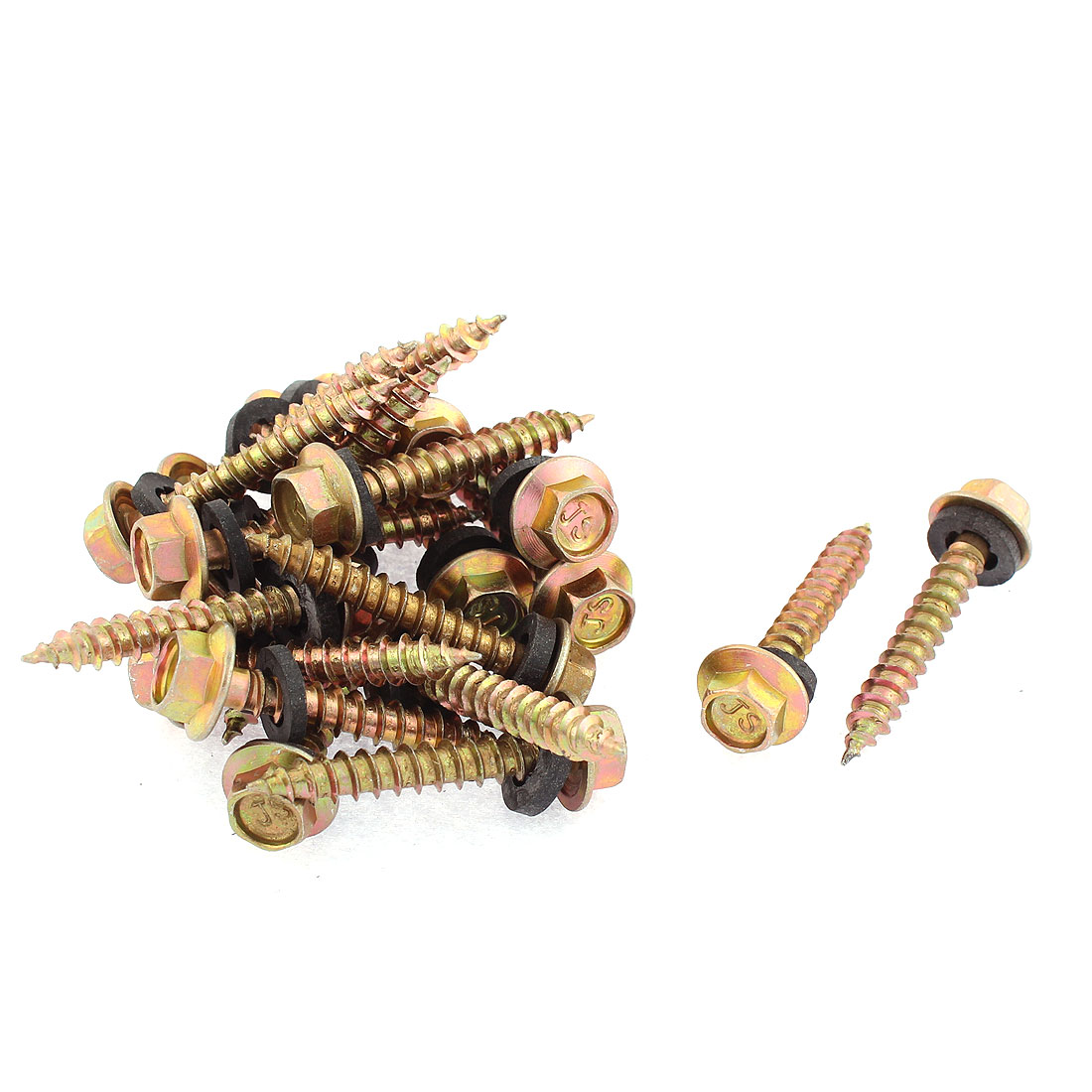 20Pcs M5 x 33mm Male Thread Hex Washer Head Self Tapping Screw Fastener 38mm Long