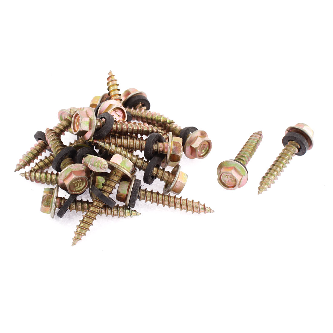 20Pcs M5 x 30mm Male Thread Hex Washer Head Self Tapping Drilling Screw Fastener 36mm Long