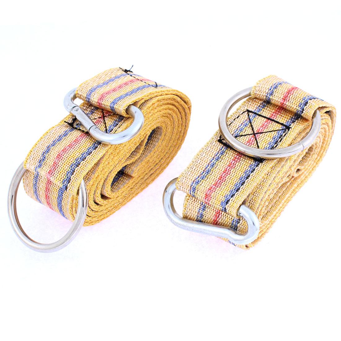 2Pcs 3.8cm Width 2.5M Long Stripe Print Yellow Nylon Hanging Hammock Strap Safety Belt Band w Hook