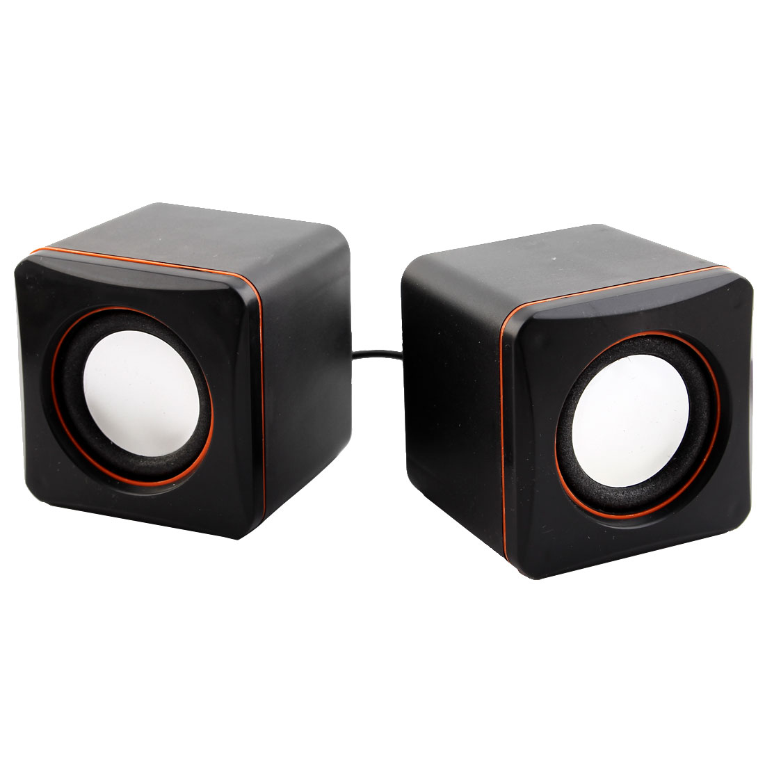 Pair Black Orange Plastic Shell USB 2.0 3.5mm Stereo Plug Computer Laptop MP3 MP4 Mini Multimedia Speaker Sound Box