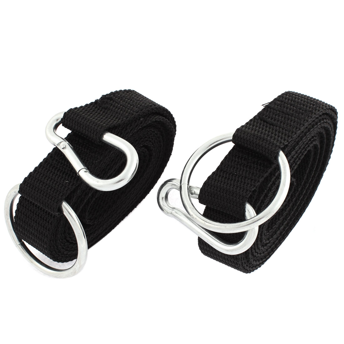 2 Pcs Metal Carabiner Hook Clip Ring Black Nylon Hanging Hammock Strap Safety Belt Band 250cm x 2.5cm