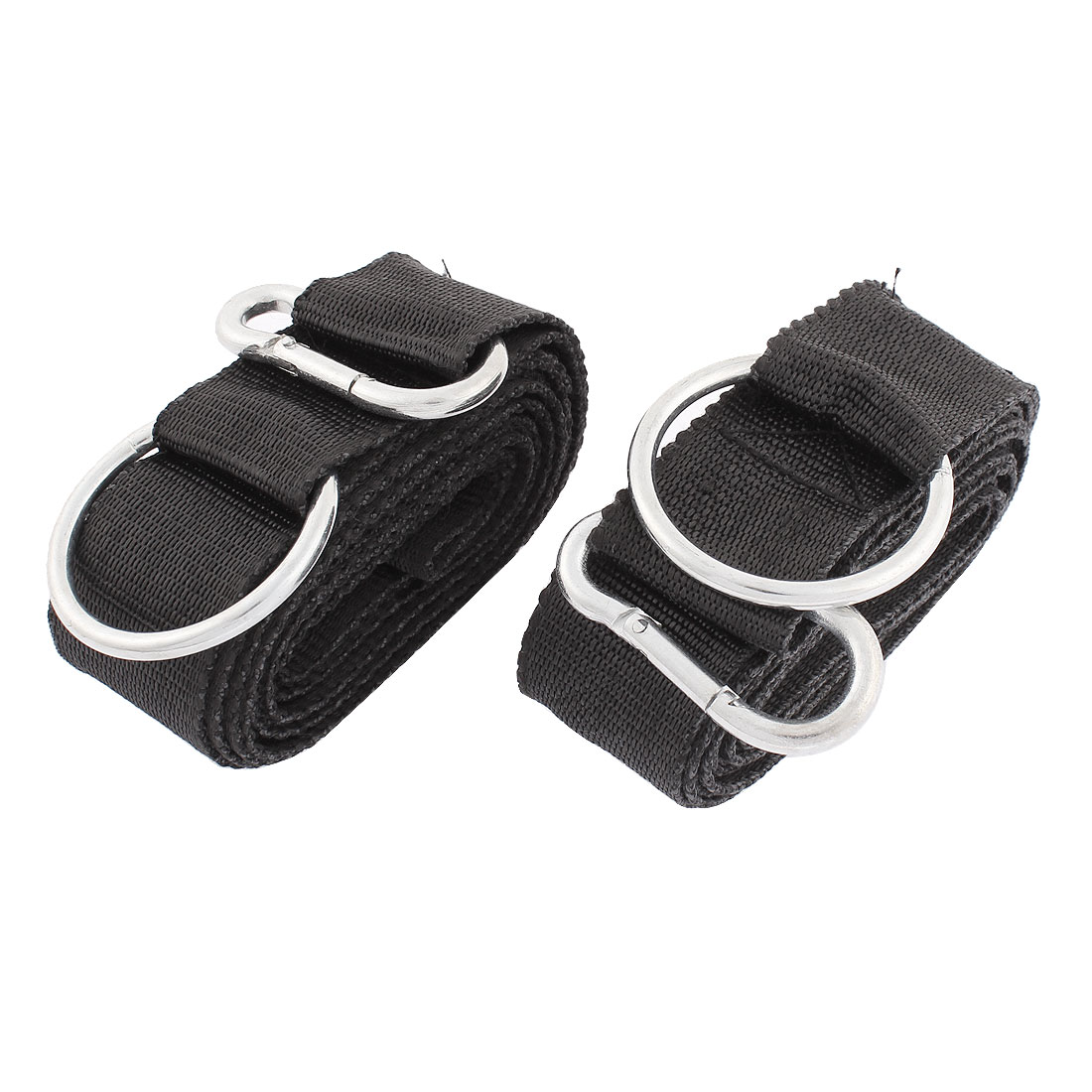2Pcs Metal Ring Carabiner Hook Clip Black Nylon Hanging Hammock Strap Safety Belt Band 250cm x 3.8cm