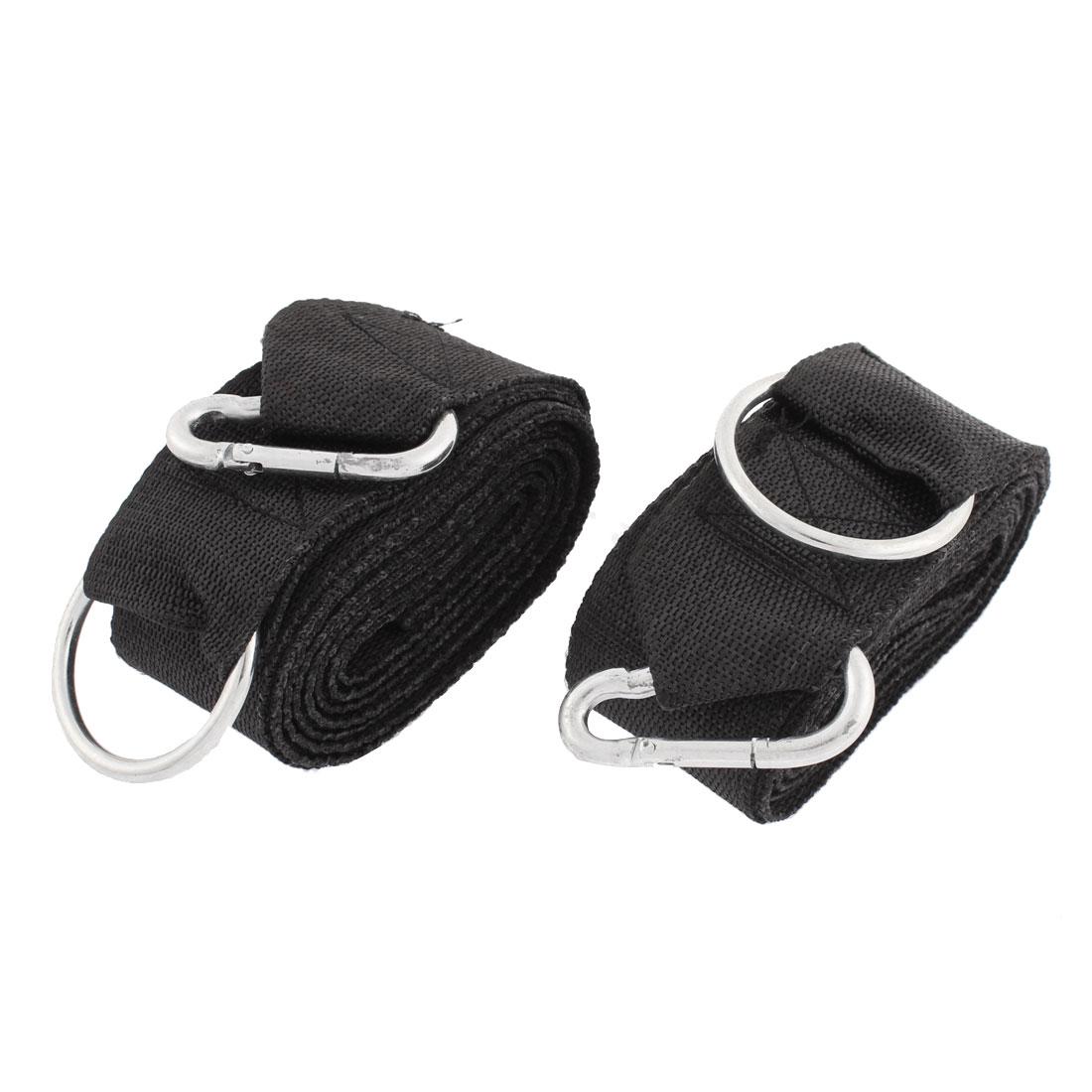 2 Pcs Metal Ring Carabiner Hook 5cm Width 300cm Long Black Nylon Hanging Hammock Strap Safety Belt Band