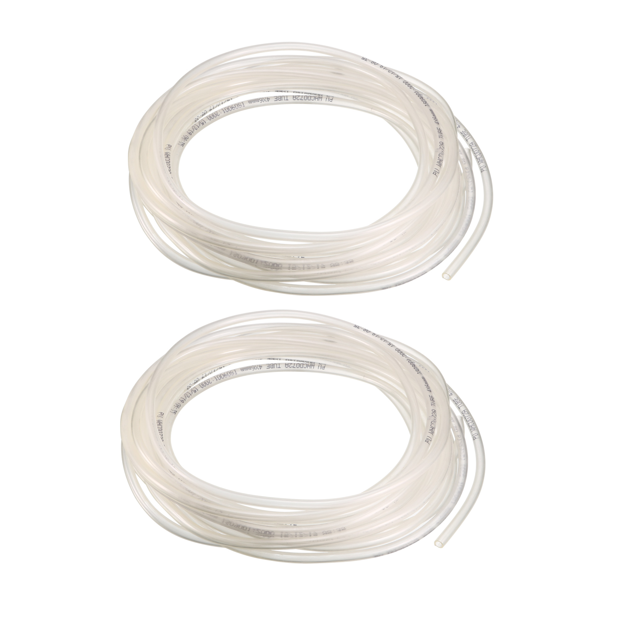 2pcs 7.6M 25ft Long Clear Polyurethane Flexible Air Tube PU Tubing Pneumatic Pipe Hose 6mmx4mm