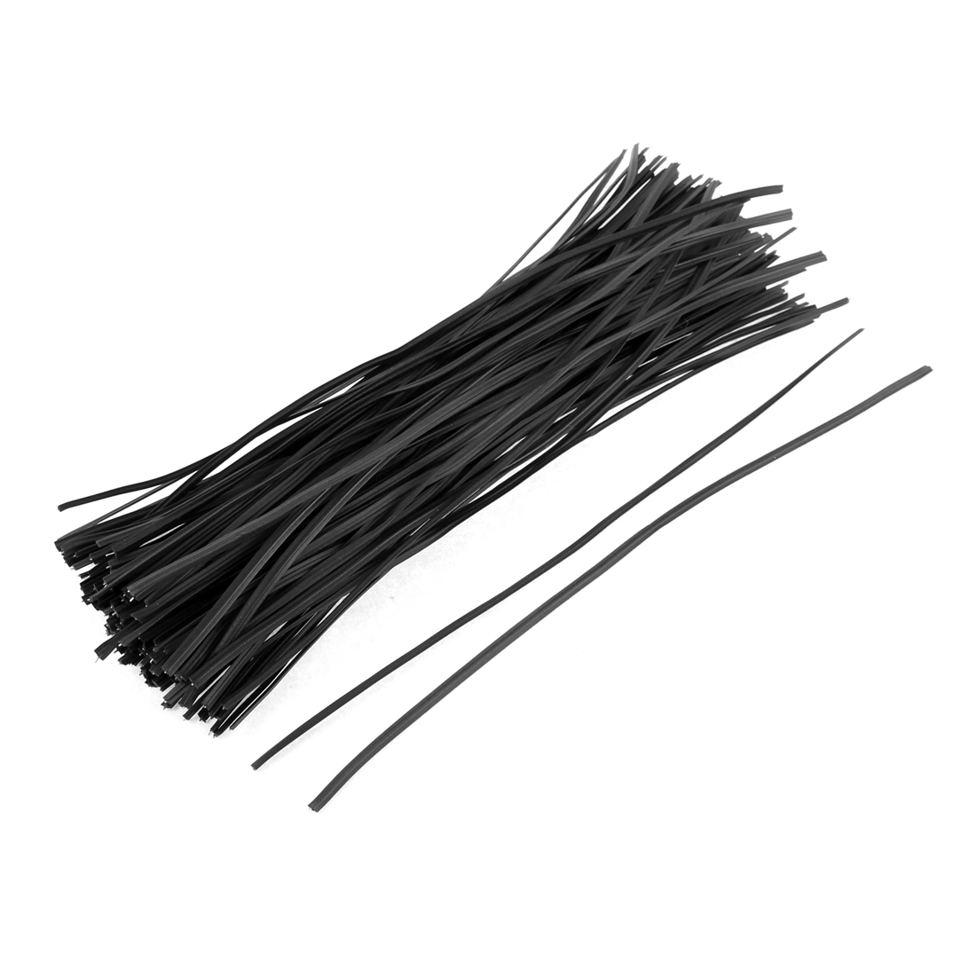 130pcs 200mm x 3mm Black Plastic Coated Metal Cord Data Cable Binding Bags Packaging Wire Twist Ties
