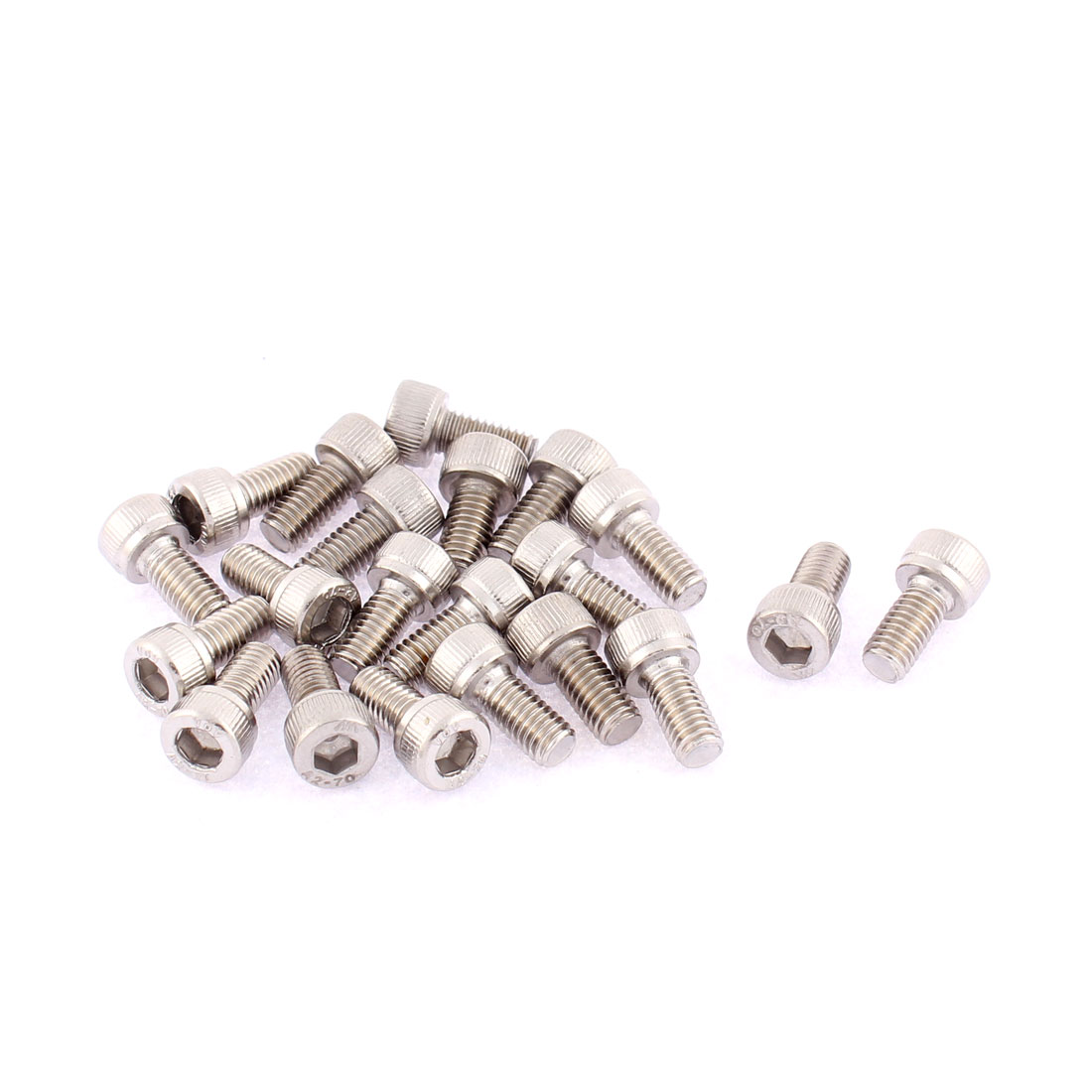 21pcs M5 x 10mm Male Thread 15mm Long Stainless Steel 6-Point Hex Socket Cap Screws Bolts