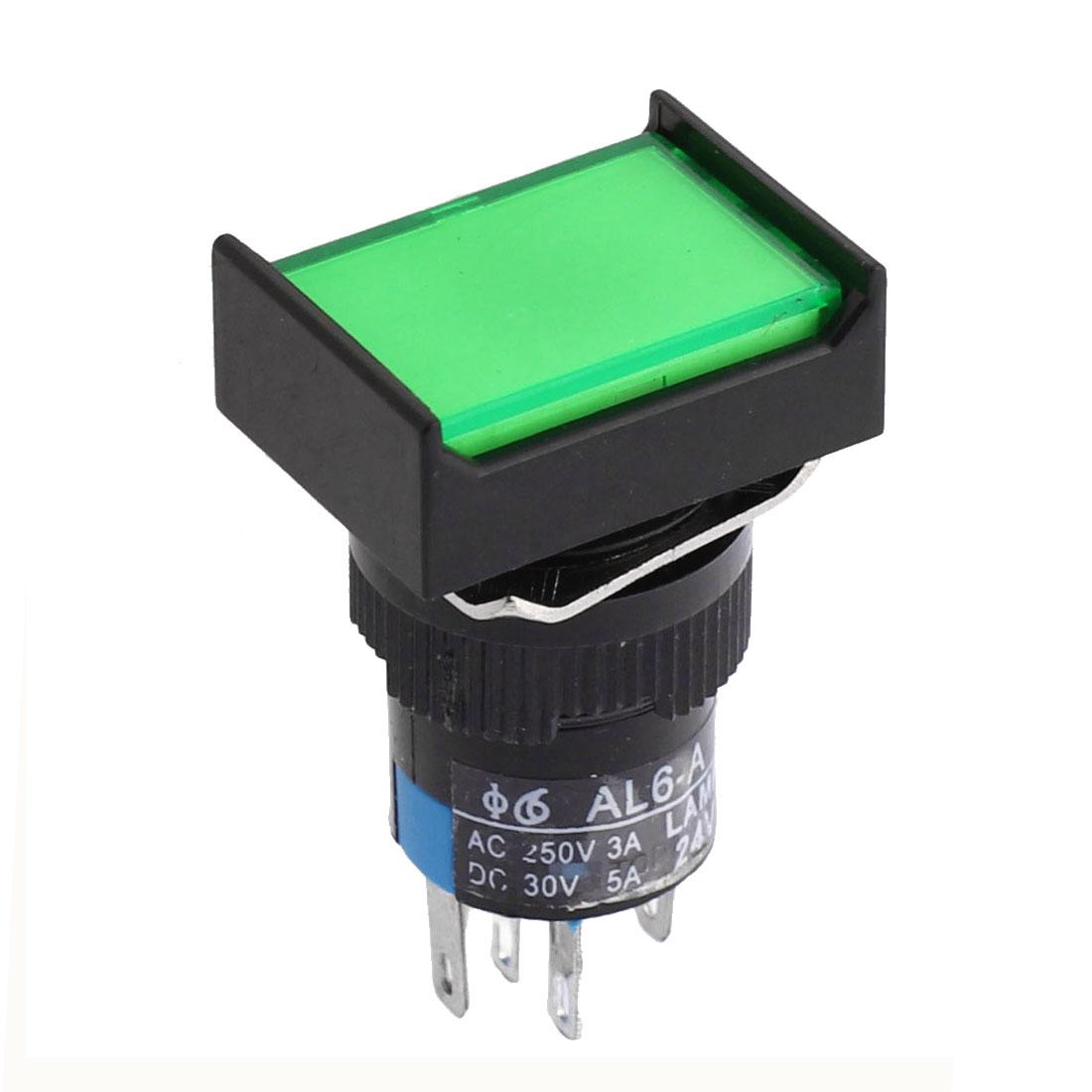 DC 24V Green LED Indicator Light Lamp 16mm Panel Mounting Plastic 1NO 1NC SPDT Latching Rectangular Push Button Switch