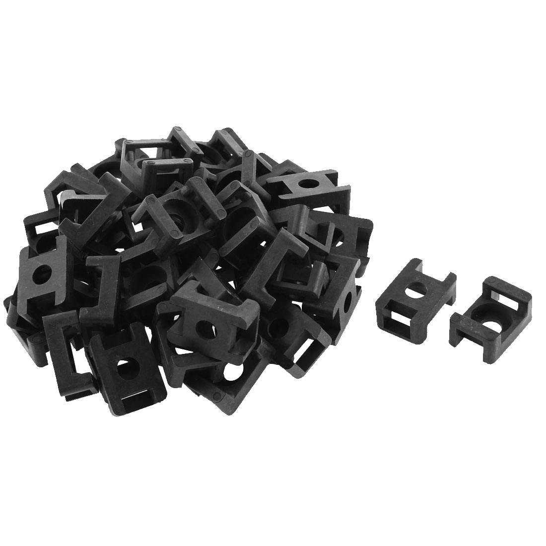 48pcs 9mm Black Plastic Wire Buddle Saddle Type Screw Fixed Cable Tie Mount Holder Base Socket