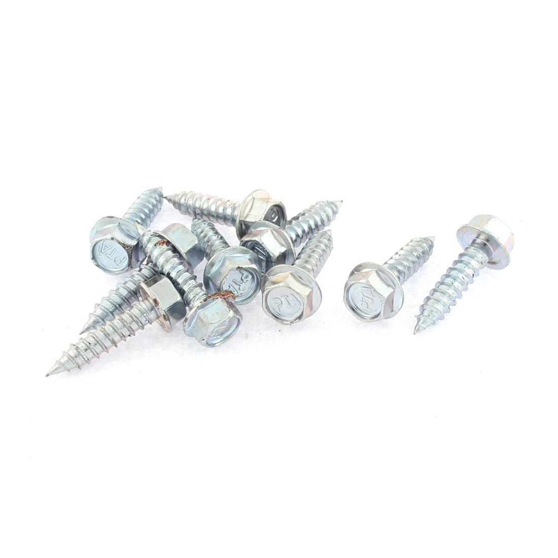 10 Pcs M6 x 25mm Male Thread Silver Tone Metal Hex Head Self Tapping Screw Fastener