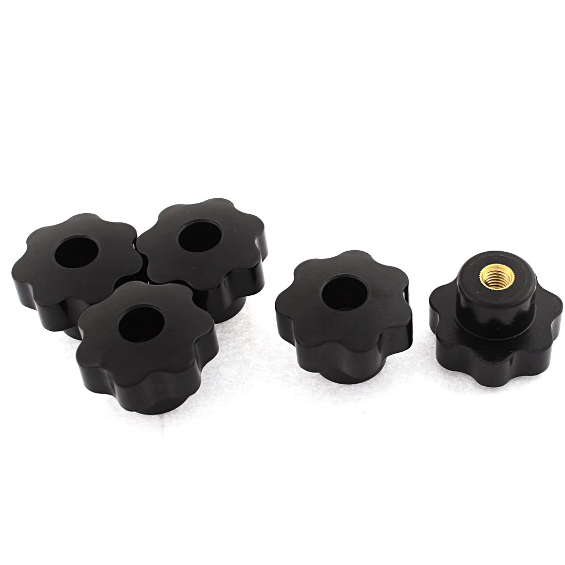 5pcs M8 Female Thread 38mm x 28mm Black Plastic Star Head Screw On Machinery Clamping Knob Grip