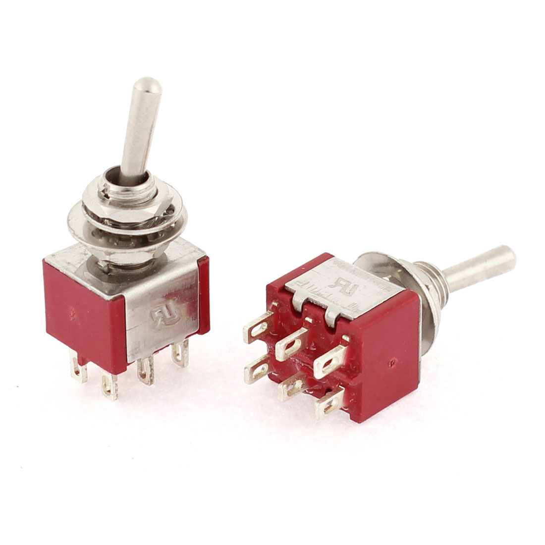 2pcs AC 250V 2A 120V 6A 2 Position ON/ON 6 Terminals M6 Panel Mounting DPDT Latching Miniature Toggle Switch