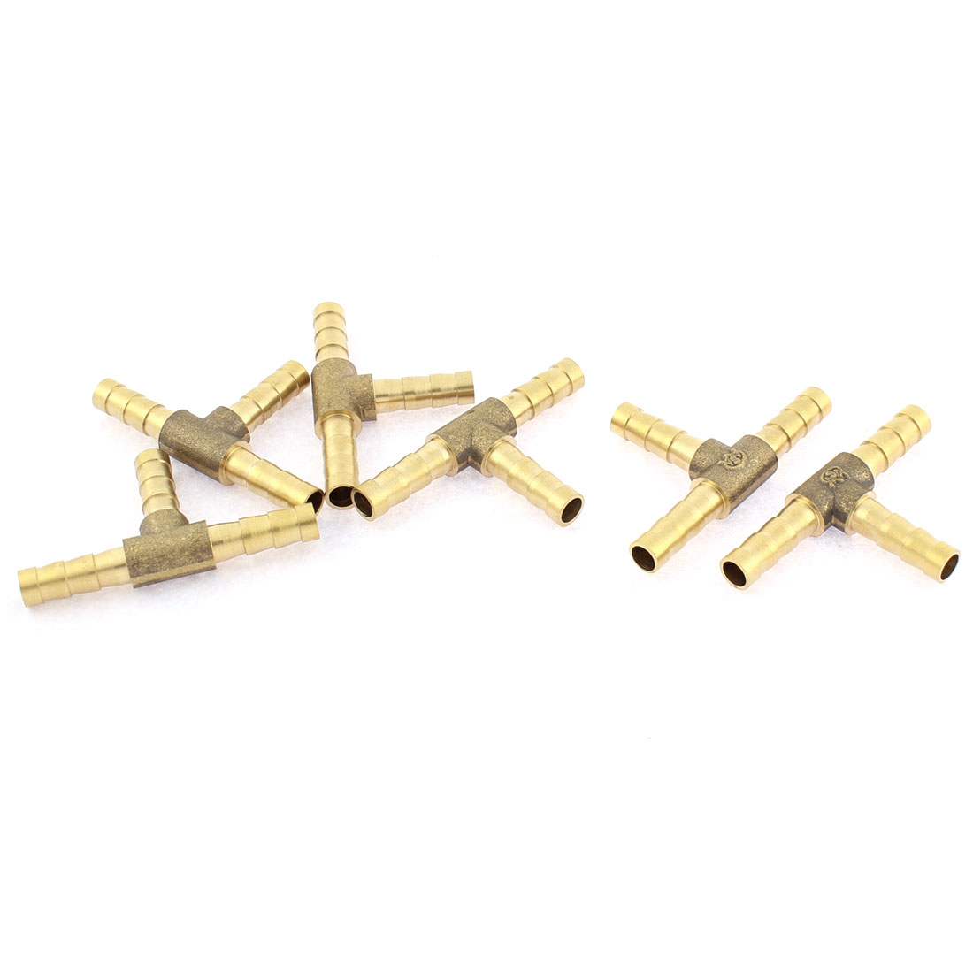 6Pcs T-Shape 3 Ways Brass Hose Barb Fitting Adapter Coupler for 6mm Pipe