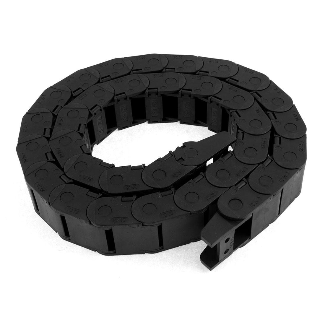 20mm x 25mm Internal Black Plastic Flexible Semi Closed Carrier Cable Drag Chain 108cm 3ft Long