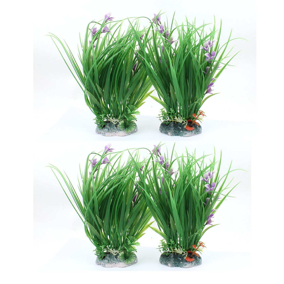 Aquarium Fish Tank Simulation Artificial Floral Plant Ornament 4Pcs Green Purple