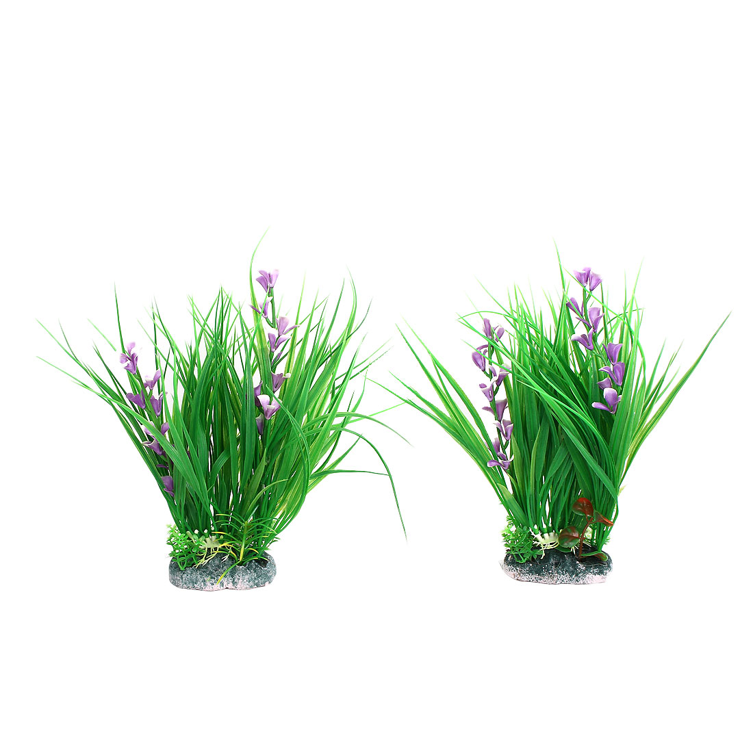 Aquarium Fish Tank Artificial Plastic Floral Plant Ornament 2 Pcs Green Purple