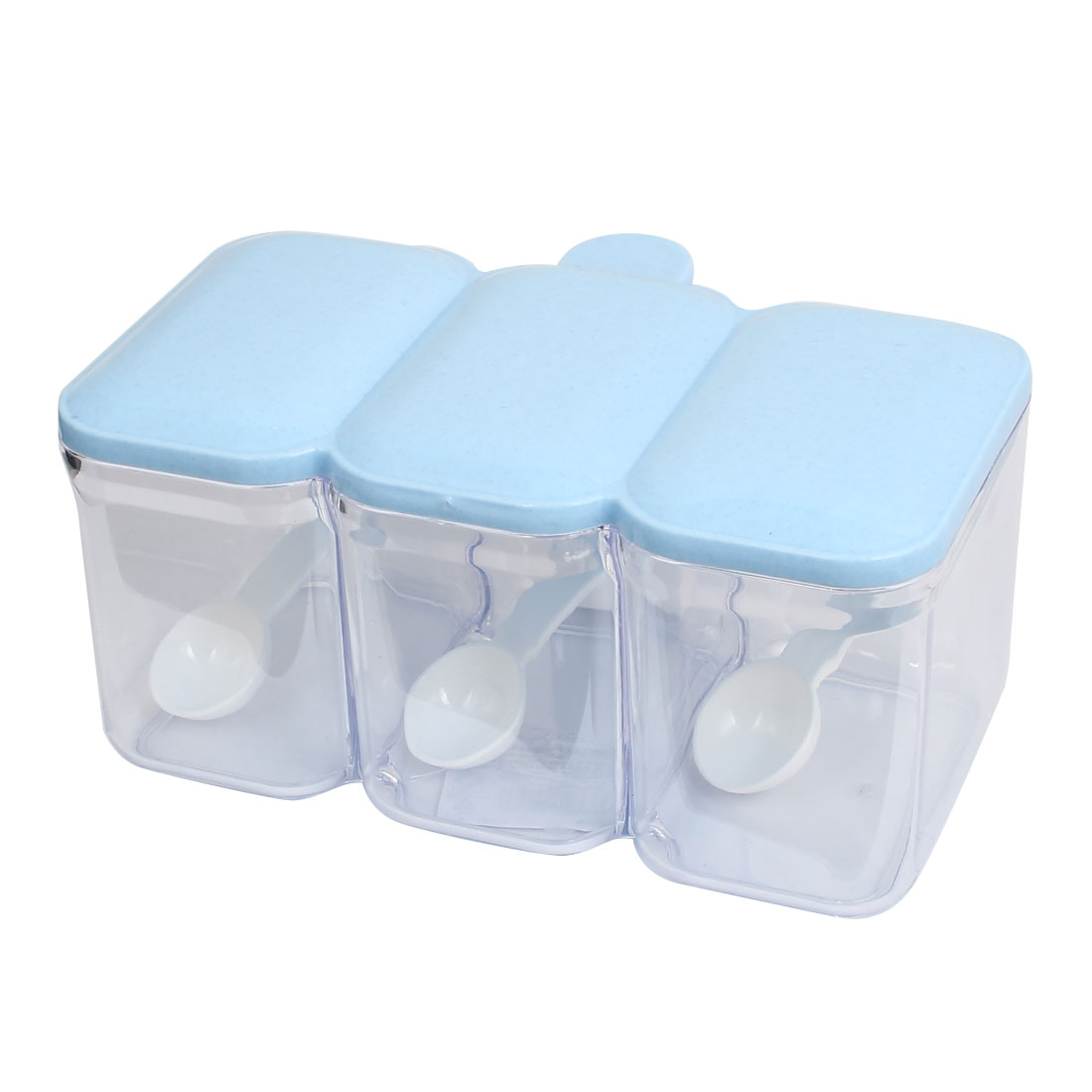Plastic Rectangle 3 Compartments Condiment Holder Dispenser Tray White Blue