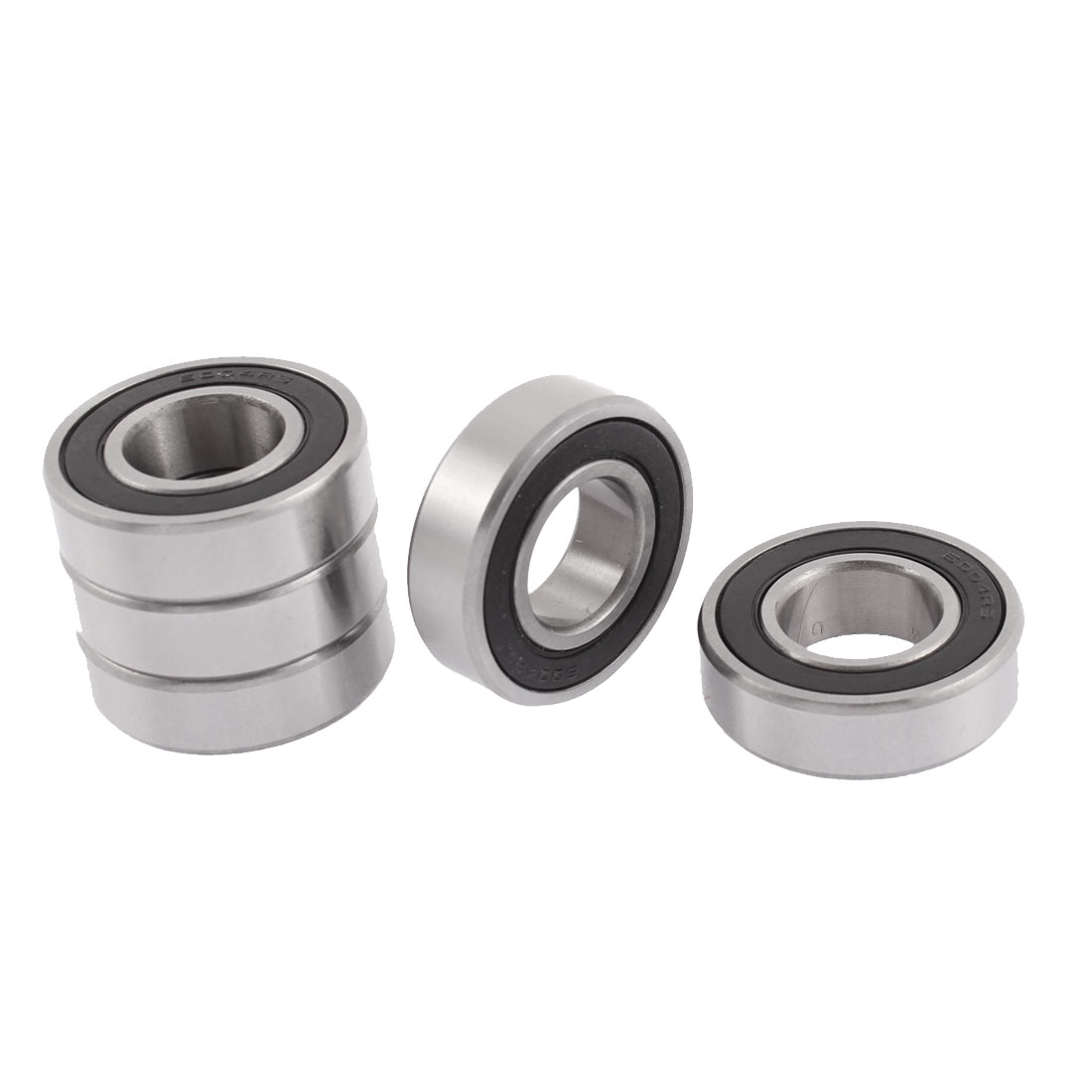 6004RS 42mm x 20mm x 12mm Rubber Sealed Groove Ball Bearings Silver Tone 5 Pcs