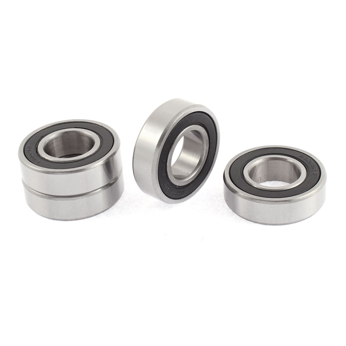 6004RS 42mm x 20mm x 11mm Rubber Sealed Groove Ball Bearings Silver Tone 4 Pcs