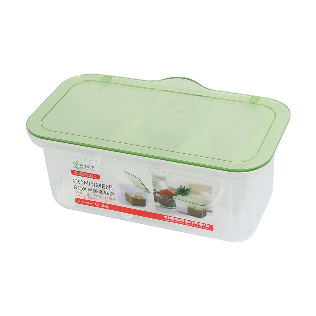 Kitchen Plastic 3 Compartments Condiment Holder Dispenser Tray Box Clear Green