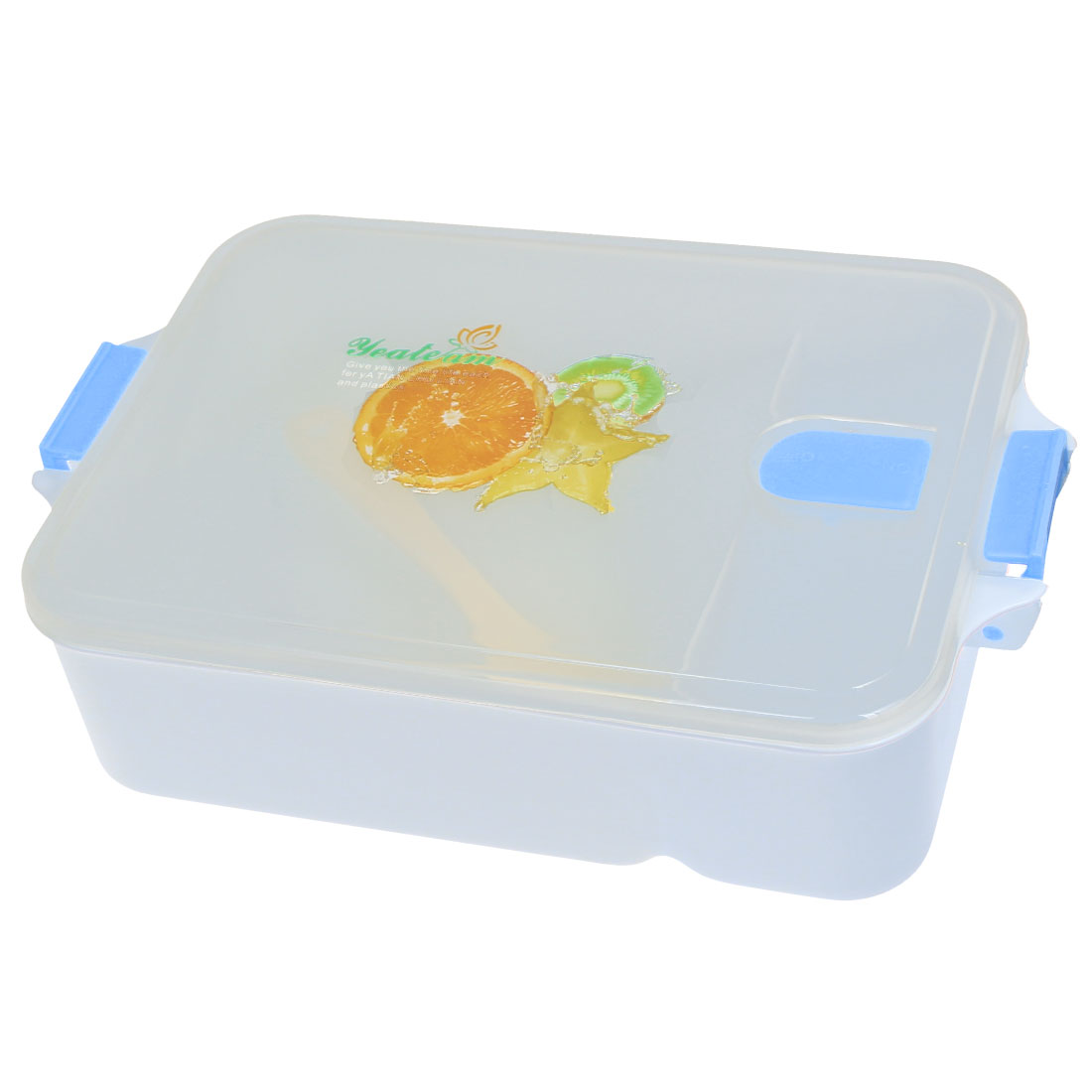 Picnic Fruits Print Plastic Lunch Box Food Storage Container Light Blue w Spoon