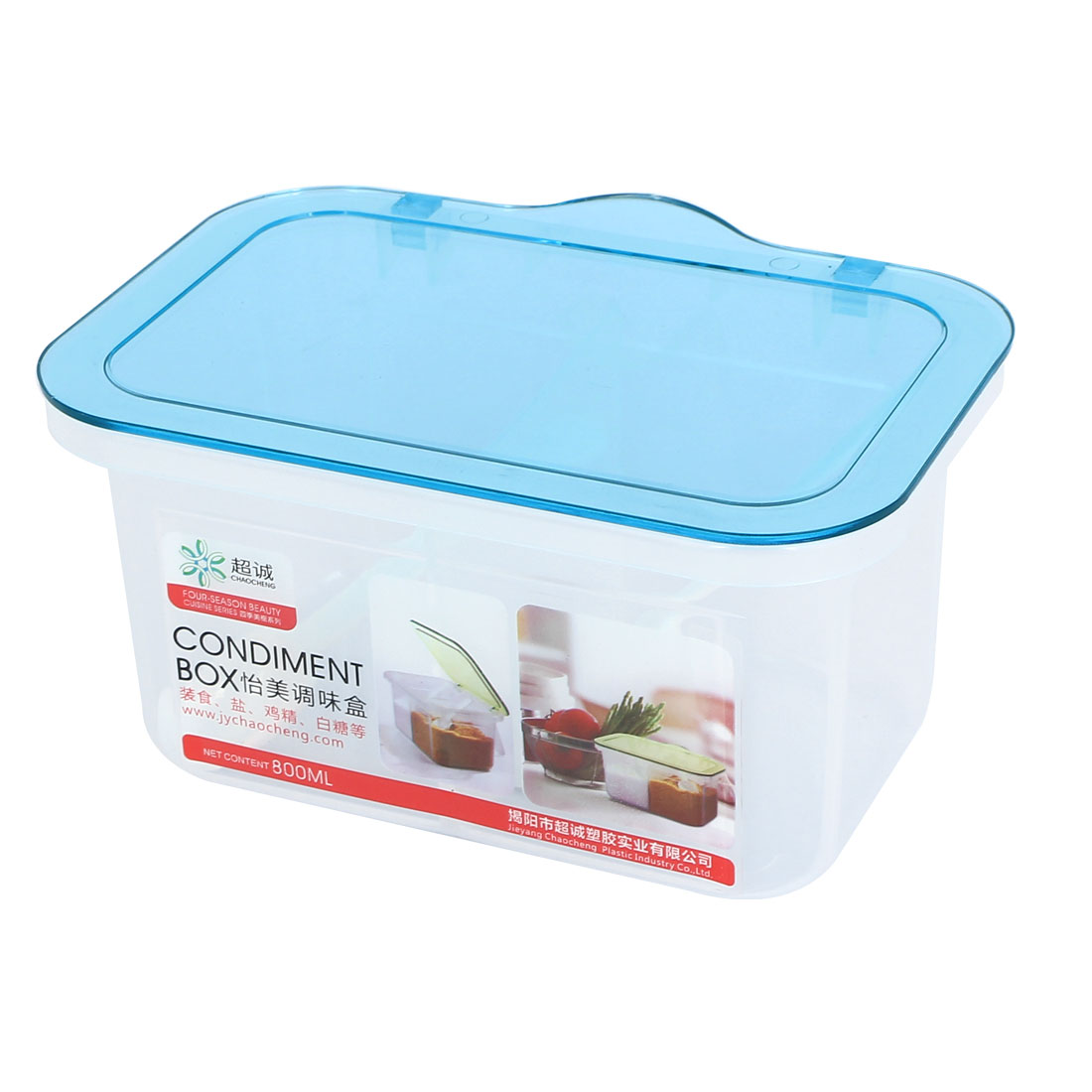 Kitchen Plastic 2 Compartments Condiment Container Holder Tray Box Clear Blue