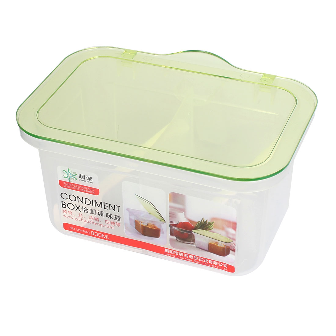 Kitchen Plastic 2 Compartments Condiment Container Holder Tray Box Clear Green