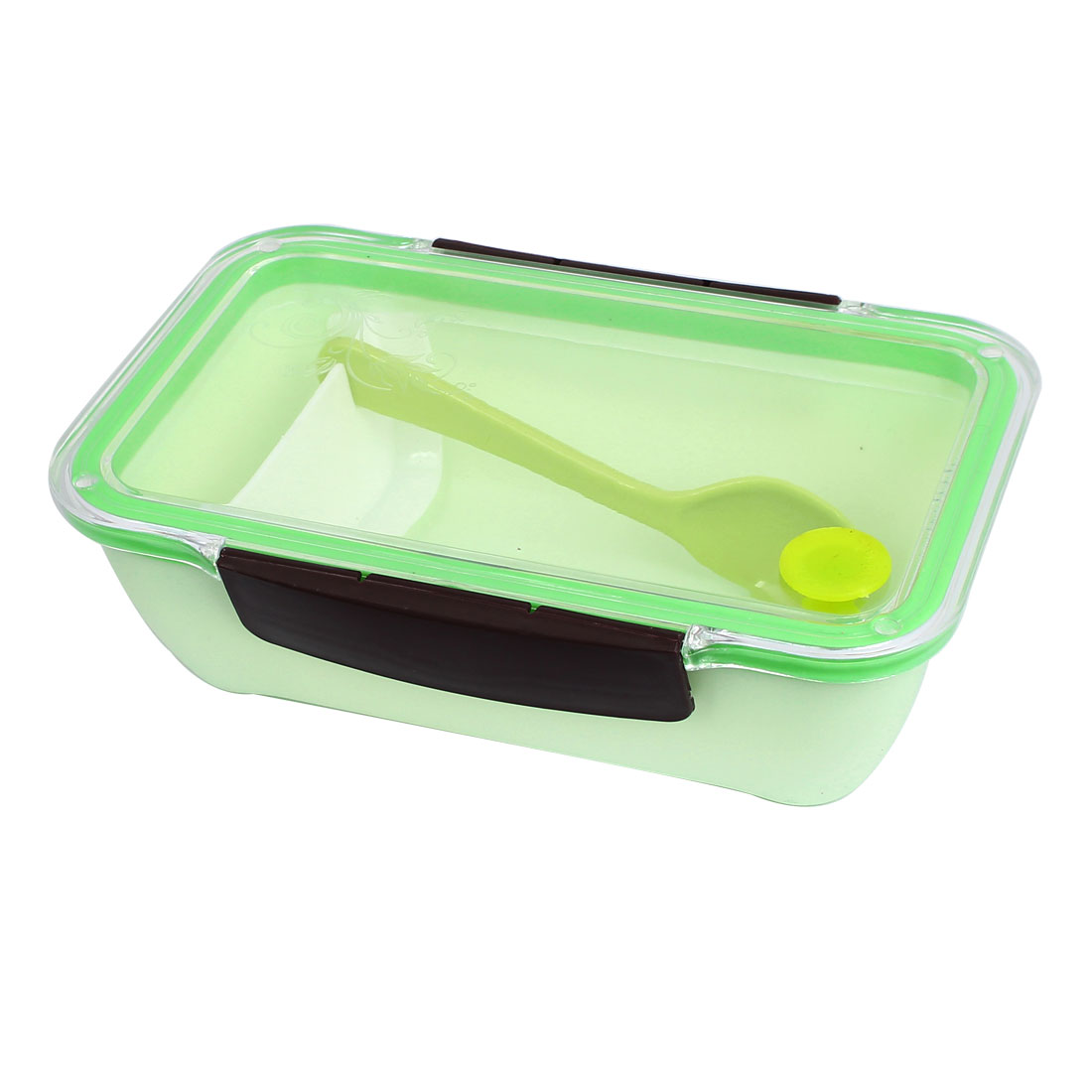 Picnic Plastic Rectangle Lunch Box Food Storage Container Light Green w Spoon
