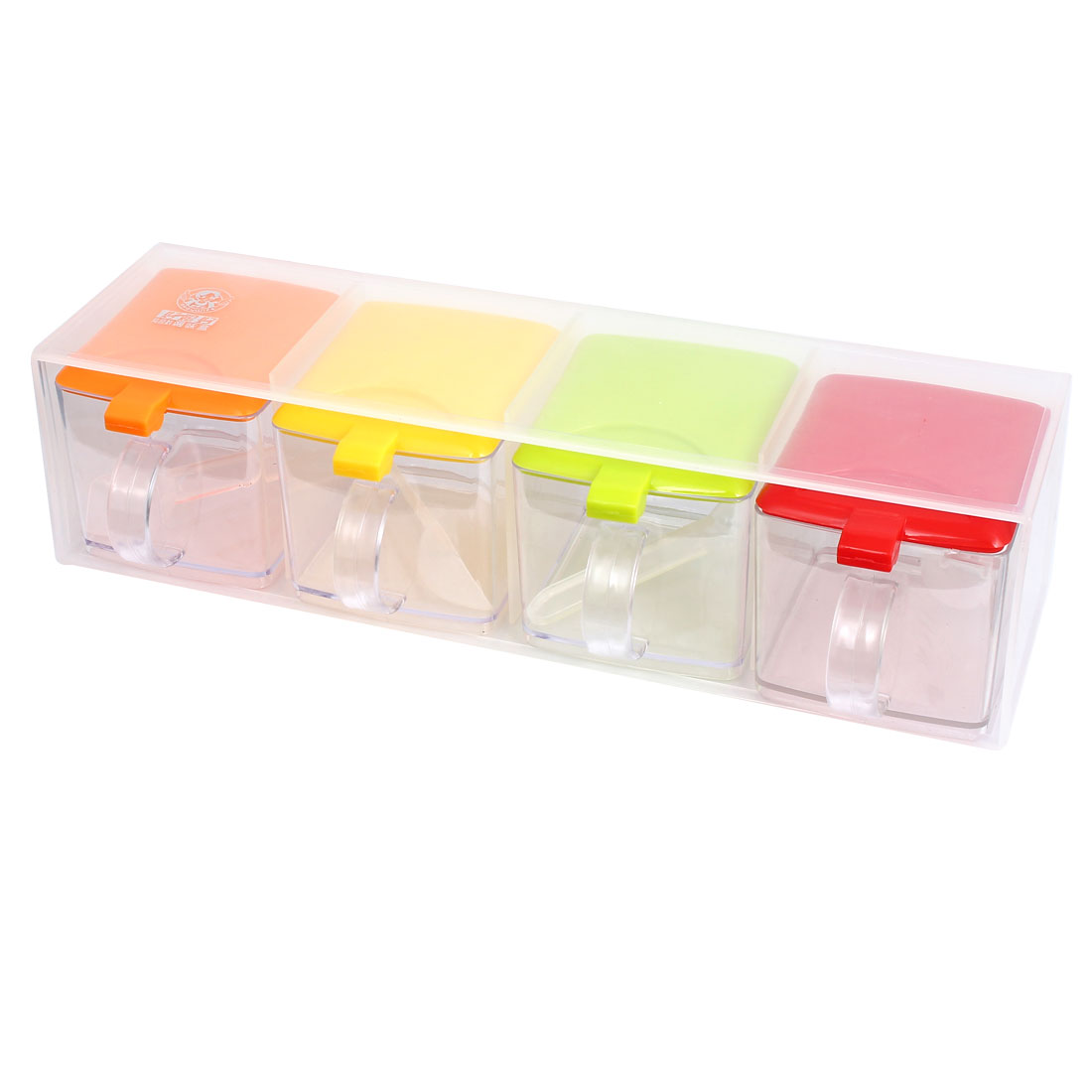 Plastic 4 Compartments Condiment Holder Dispenser Tray Assorted Color w Spoons