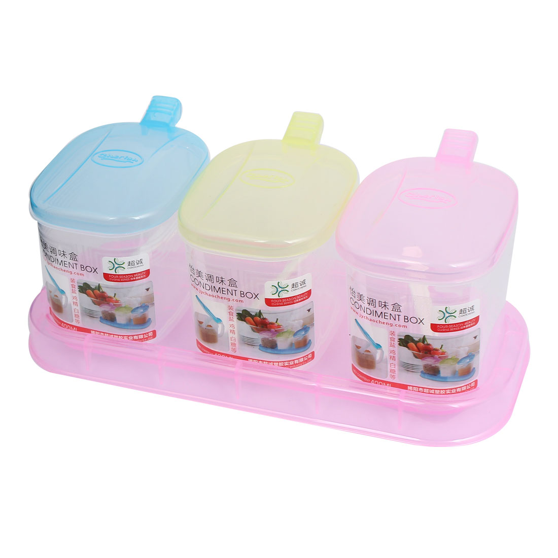 Kitchen Plastic 3 Compartments Condiment Holder Dispenser Tray Box Mixed Color