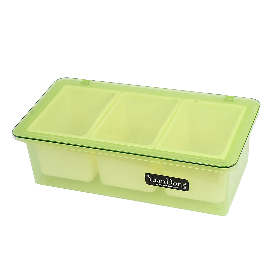 Plastic Rectangle 3 Compartments Condiment Holder Dispenser Tray Green Off White