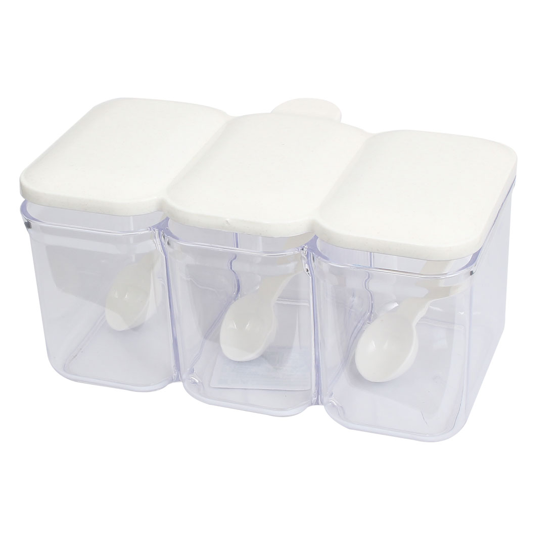 Plastic Rectangle 3 Compartments Condiment Holder Dispenser Tray White Clear