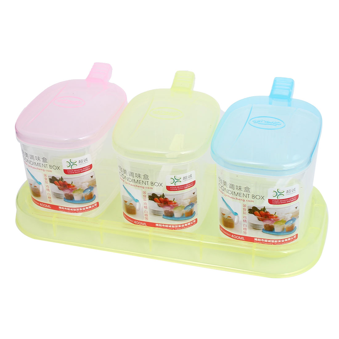 Kitchen Plastic 3 Compartments Condiment Holder Dispenser Tray Box Multicolor
